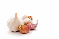 Garlic bulbs with cloves Royalty Free Stock Images
