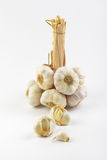 Garlic bulbs and cloves. On white background Stock Photo