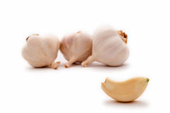 Garlic bulbs and garlic clove Stock Photo
