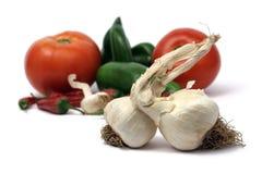 Garlic bulbs with veggies Royalty Free Stock Photos