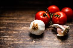 Garlic bulbs with vine tomatoes on wooden vintage background. Close Up stock photography