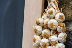 Garlic bunches in a farmers market Stock Photo
