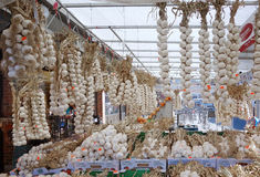 Garlic. Bundles of garlic at a street market Stock Images