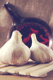 Garlic. On burlap background pan Stock Photography