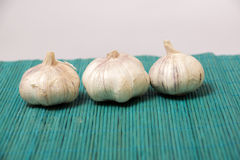 Garlic on burlap Royalty Free Stock Photo