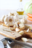 Garlic, carrots, cabbage and olive oil Royalty Free Stock Images