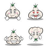 Garlic cartoon character set collection. Vector illustration Stock Images