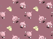 Garlic Cartoon Seamless Wallpaper. Food Vector EPS10 File Format Stock Image