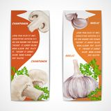 Garlic champignon banners Royalty Free Stock Photography