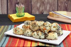 Garlic, cheese ball appetizers. Royalty Free Stock Photography
