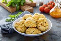 Garlic and cheese dinner rolls. With herbs stock photography