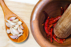 Garlic and chili. Garlic food spice eating vegetable Stock Image