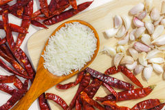 Garlic and chili. Garlic food spice eating vegetable Stock Photos