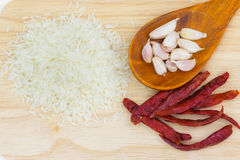 Garlic and chili. Garlic food spice eating vegetable Royalty Free Stock Image