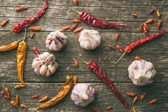 Garlic and chili peppers Stock Image
