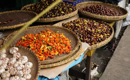 Garlic and chilli in traditional market photo taken in Bogor Indonesia Royalty Free Stock Photos