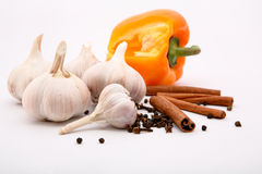 Garlic, cinnamon, lemon and pepper Royalty Free Stock Image