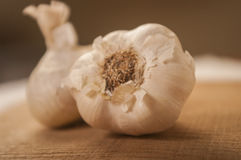 Garlic close up on wooden background Stock Photos