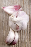 Garlic closeup on rustic wooden board Royalty Free Stock Photos