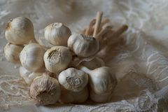 Garlic clove on a white pizzo. Close up of a garlic clove on a white pizzo stock image