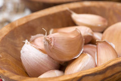 Garlic cloves in a bowl, selective focus, closeup Royalty Free Stock Photo