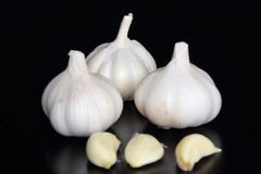 Garlic. Cloves and bulbs isolated on white Royalty Free Stock Images