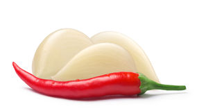 Garlic cloves with cayenne pepper, paths Stock Image