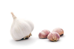 Garlic cloves and garlic bulb Royalty Free Stock Image