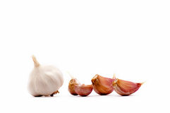 Garlic cloves and garlic bulb Royalty Free Stock Photos