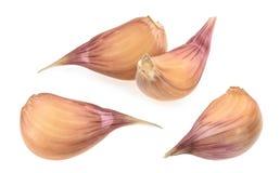 Garlic cloves isolated on white background. set stock photos