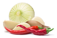 Garlic cloves, onion, cayenne, paths Stock Photography
