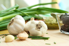 Garlic cloves and onion Stock Image