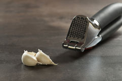 Garlic cloves and press Stock Images