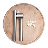 Garlic cloves and tool Royalty Free Stock Photography