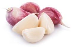 Garlic cloves on white background stock photo