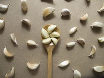 Garlic Cloves in a Wooden spoon on the MDF wooden plate board Texture Backgroun stock photo