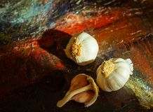 Garlic on colorful canvas background. Close Up stock photography