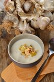 Garlic cream soup Stock Images