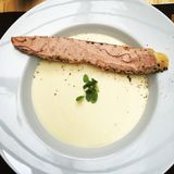 Garlic cream soup stock image