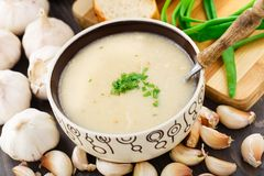 Garlic cream soup Royalty Free Stock Photos