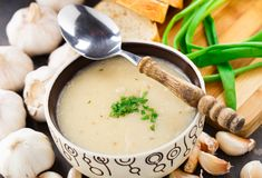 Garlic cream soup Royalty Free Stock Images