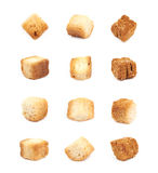 Garlic crouton isolated. Single white bread garlic crouton isolated over the white background, set of twelve different foreshortenings Stock Images