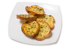 Garlic croutons drenched with herb butter Royalty Free Stock Images