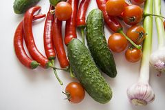 Free Garlic, Cucumbers And Chili Royalty Free Stock Photo - 55659875