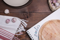 Garlic on a desk Royalty Free Stock Images