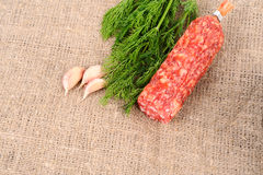 Garlic dill and sausage Royalty Free Stock Images