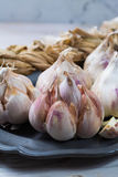 Garlic. Dried French garlic. Red garlic. Violet garlic.Garlic ba Royalty Free Stock Photos