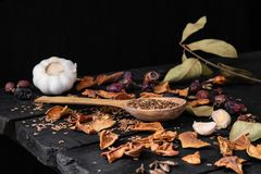Garlic, dried fruit and seeds in dark rustic background stock photo