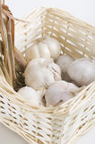 Garlic with dried lemon grass inside a rattan basket Royalty Free Stock Images