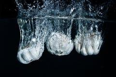 Garlic dropped in fresh water Stock Photos